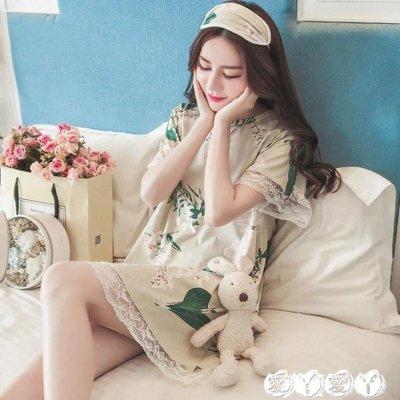 睡裙 韓版睡裙女夏季短袖寬鬆甜美清新學生純棉睡衣樹葉蕾絲公主家居服