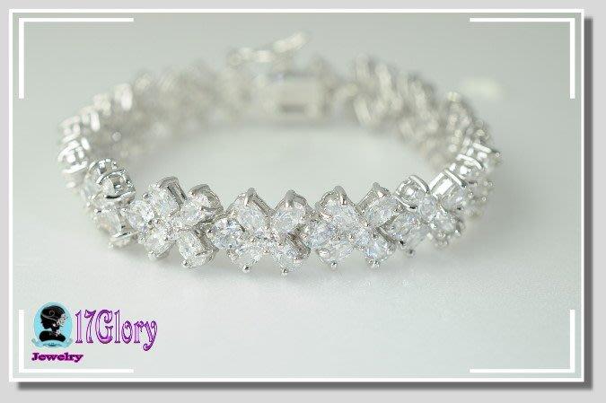 *直播 滿鑽花朵925純銀 手鍊 高檔質優擬真鑽  手環 鉑金質感 宴會 禮服 時尚穿搭珠寶#現貨✽17 Glory✽
