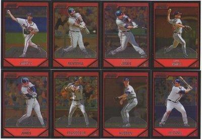 MLB 勇士隊 2007 Bowman Chrome 明星球員 Chipper Jones Hudson 印刷簽名套卡一套八張~~