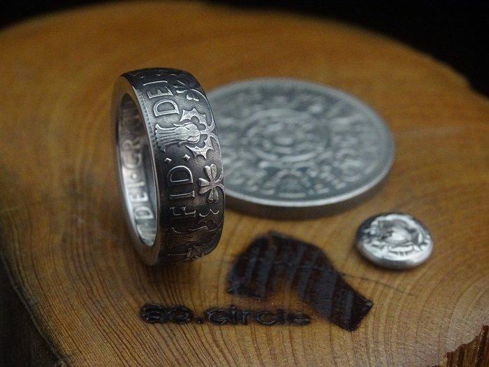 ao.circle 奢扣 原創 {無幣輪窄版}英國 Shillings 硬幣 手工戒指 紀念幣 銀幣 玫瑰 情人