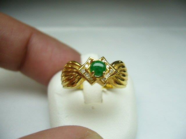 [吉宏精品交流中心]A貨 蛋面 天然翡翠 天然鑽石 黃K金 造型 戒指(2)