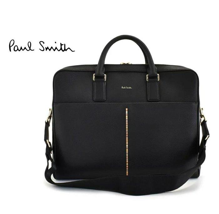 Paul Smith ( 黑色 ) 真皮  雙層拉鍊 手提包  肩背包 公事包  |100%全新正品|特價!