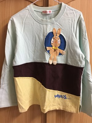 。☆二手☆。Why&1/2正品兔子貼布長袖棉T(15號-155cm)