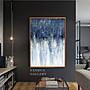C - R - A - Z - Y - T - O - W - N 法國藝術家藍白抽象掛畫辦公室抽象掛畫樣品屋客廳裝飾畫