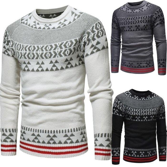 『潮范』 WS11 新款男士休閒修身提花圓領套頭衫 圖案針織衫 線衫 圖案毛衣NRG2933