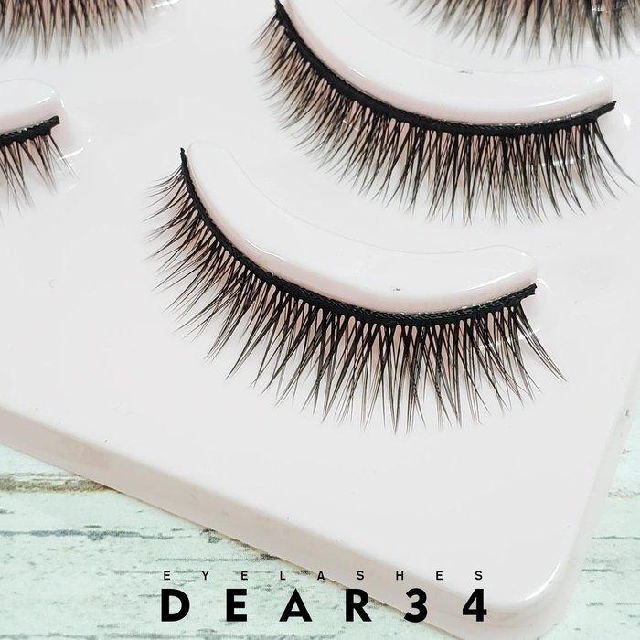 《Dear34》磨尖5B-4硬梗眼尾加長交叉短款0.9cm 純手工編織假睫毛一盒五對入