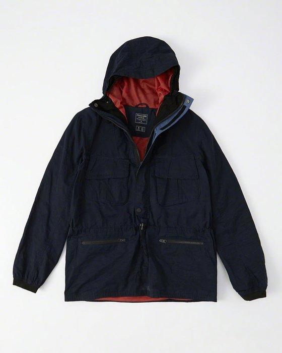 Maple麋鹿小舖 Abercrombie&Fitch * A&F 深藍色半拉鏈防風連帽外套 * ( 現貨L號 )