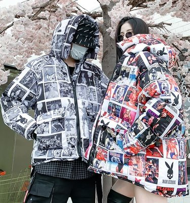 【黑店】歐美潮流雜誌印花羽絨外套 情侶外套保暖羽絨衣 寒流必備個性外套 家厚保暖雜誌款連帽外套OT116