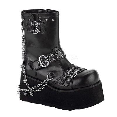 Shoes InStyle《三吋》美國品牌 DEMONIA 原廠正品龐克歌德蘿莉鍊條骷髏厚底中短馬靴 有大尺碼『黑色』