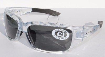 NATIVE EYEWEAR Bolder POLARIZED太陽眼鏡水晶透明黑色/灰色NEW  109