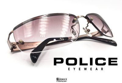 【眼鏡世家生活館】POLICE 亞洲男神池昌旭代言 最時尚最Man的單品  8357JK 淡褐色搭配紫色