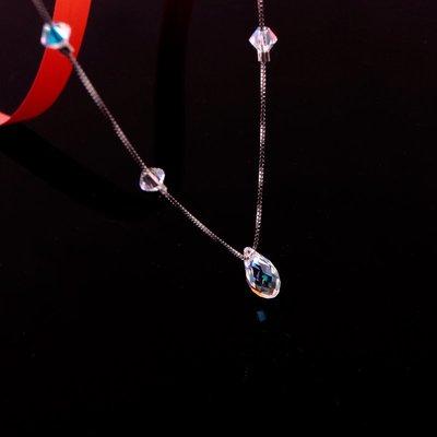 FAINO 奧地利菱形水滴水晶鎖骨鏈女短款項鏈個性925純銀配飾簡約頸鏈潮