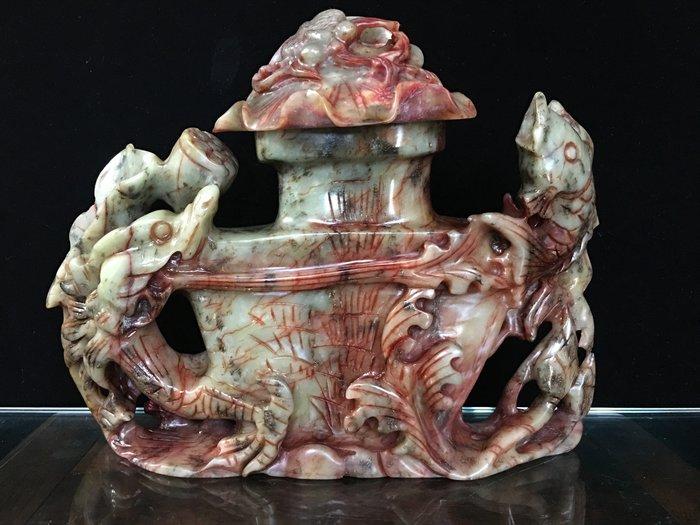 *藏雅軒*地方玉石-安徽蚌埠玉原石雕刻二件式擺件-錦鯉蓮荷雕