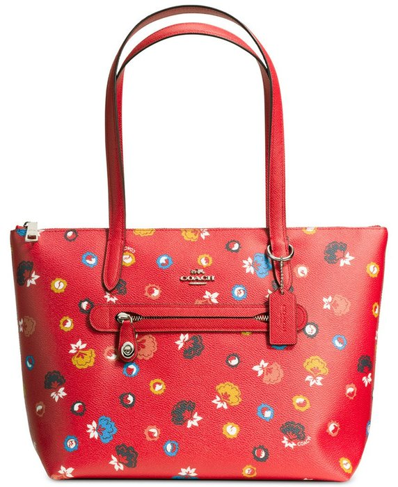 Coco小舖COACH 37226 Taylor Tote in Floral Print Coated Canvas紅