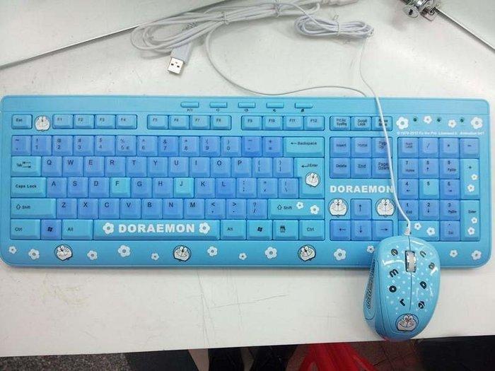 人氣!新品多啦A夢叮當貓有線鍵盤鼠標套裝 可愛卡通防水叮當貓鍵盤鼠標 鍵盤滑鼠 卡通鍵盤可愛鍵盤