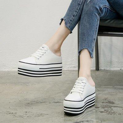 Fashion*歐洲站包頭半拖帆布鞋 百搭板鞋厚底小白鞋 內增高無後跟懶人鞋34-39碼