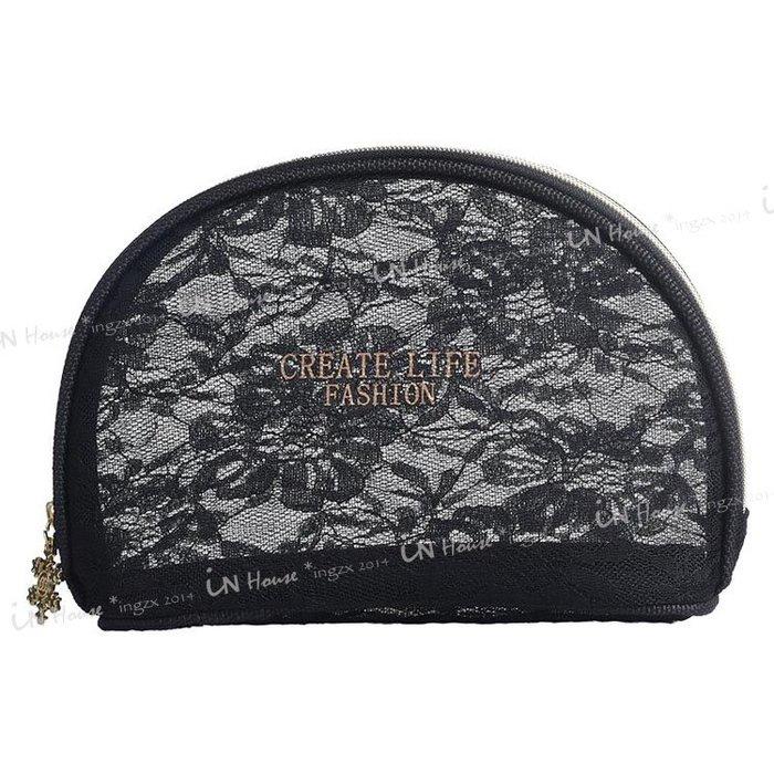 IN House*🇹🇼現貨 pouch 黑色半透明 蕾絲 網紗包 貝殼包  精緻 雪花拉鍊 化妝包 過夜包 收納包