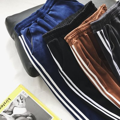 【UBY】雙層復合絨!側白條加厚運動休閒收口褲◄No12203