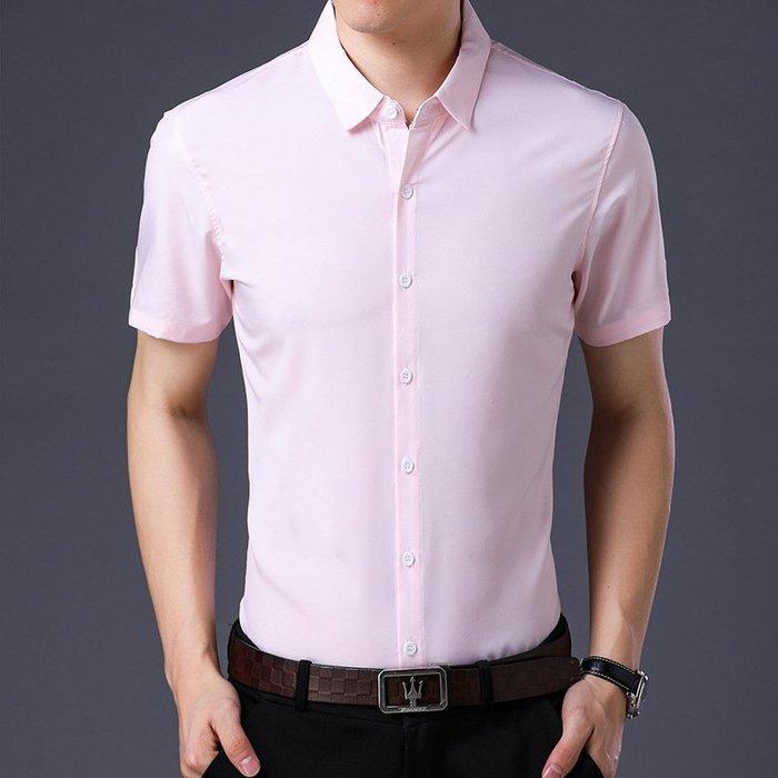 上衣襯衫新款男式短袖襯衫2018夏季韓版修身時尚抗褶皺襯衣純色短袖上衣男 修身襯衫
