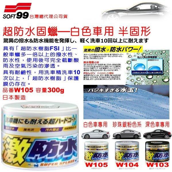 和霆車部品中和館—日本SOFT99  超防水固蠟 激防水樹脂FSI 超撥水 白色車專用 容量300g W105