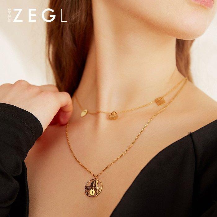 鎖骨鏈 項鏈 吊墜 項鏈 韓系 禮物 小眾設計雙層項鏈鎖骨鏈女網紅新款氣質愛心吊墜鈦鋼