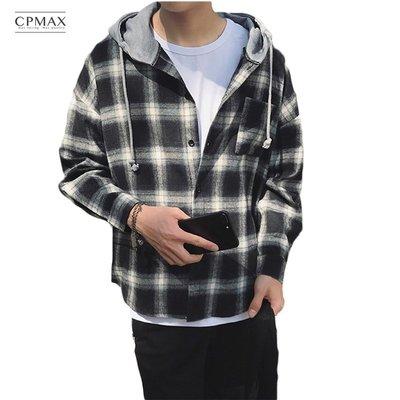 CPMAX 復古格紋連帽襯衫 休閒寬鬆 連帽襯衫 格紋襯衫 薄款外套 男款襯衫 罩衫 襯衫 休閒襯衫【B44】