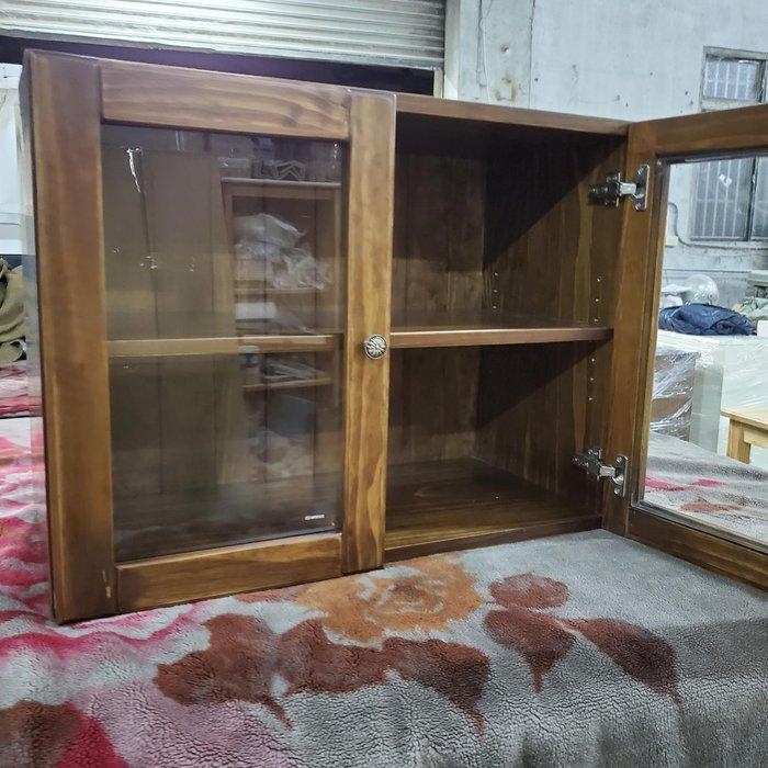 美生活館 訂製家具 鄉村風格 全紐西蘭松木 古銅色 雙玻璃門 收納櫃 展示櫃 儲物櫃 桌上櫃 書櫃 杯子的家