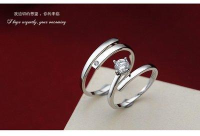 日韓時尚單鑽戒指結婚戒指情人對戒情人戒...