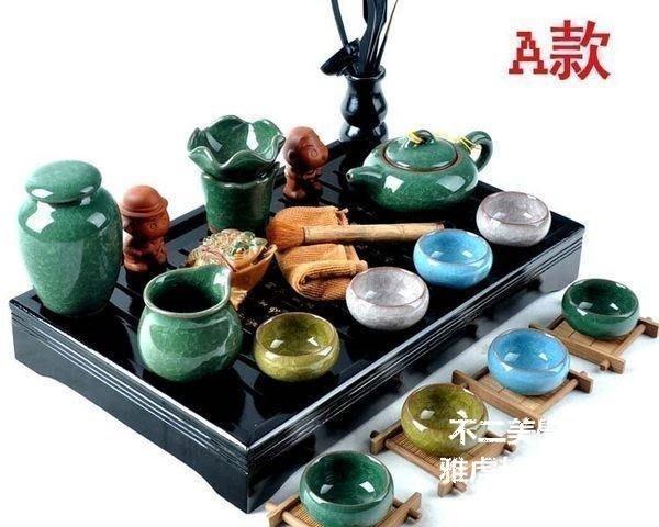 【格倫雅】^冰裂釉茶具套裝 功夫茶具 整套茶具 實木茶盤 冰裂茶具 居家用17979[