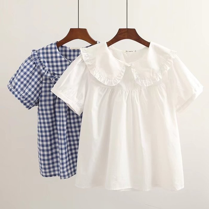 現貨【31849】襯衫  日系森女系花邊娃娃領格子短袖上衣。☆*藍荳荳小舖*☆