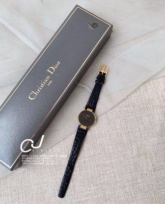 ✨CJ Vintage✨日本二手正品Dior經典黑金鱷魚皮手錶