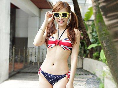 美式風格國旗星星繞頸比基尼泳裝【O2629】☆雙兒網☆