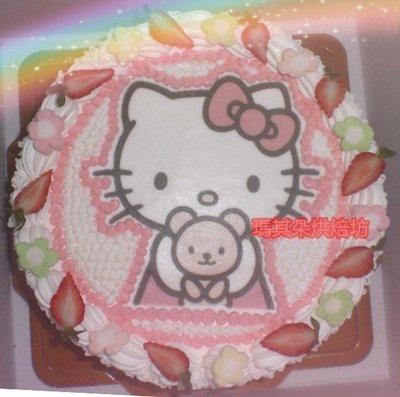 台中大里 瑪其朵烘焙坊 卡通蛋糕 造型蛋糕 相片蛋糕 8吋 KITTY 門市編號P014
