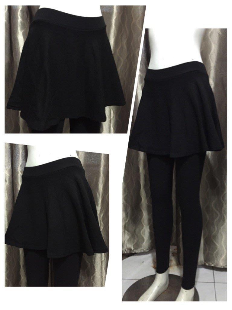 **MISS CAT**全新韓貨(KOREA) 經典薄棉黑色 配圓裙假兩件式內搭褲裙/灰色現貨