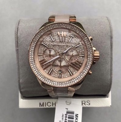 [Queen bee 代購] Michael Kors MK6096鑲鑽奢華大錶盤圓盤日曆日期三眼計時手錶/女錶/正品