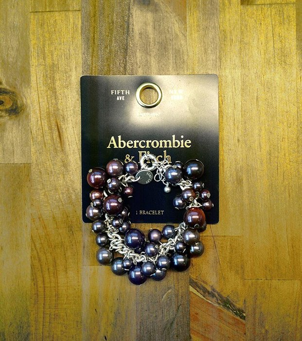 美國百分百【Abercrombie & Fitch】手鍊 手鐲 手環 飾品 金屬 串珠 珠珠 AF 麋鹿 銀紫 H886