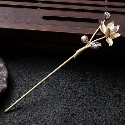 髮簪旗袍盤發發簪 古風簡約 日常現代發飾 國風流蘇步搖 金屬荷花單簪  限時免運
