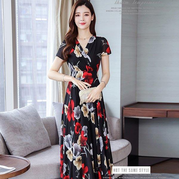 【Sweet 韓國連線】韓版短袖雪紡收腰碎花連身裙-紅、藍色-M~3XL 551【現貨+預購】