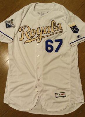 MLB大聯盟堪薩斯城皇家隊王建民金色實戰球衣-附大聯盟認證-可以交換實戰球衣