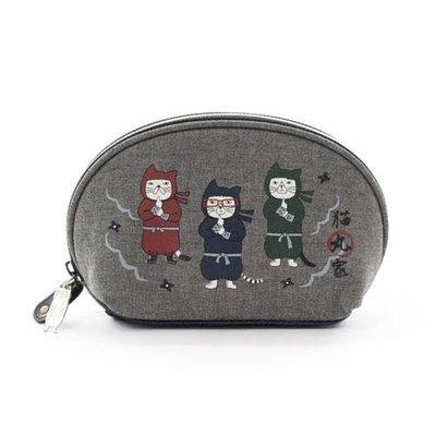 Verna&Co{現貨}日本進口雜貨貓丸家忍者貓咪貝型化妝包收納包
