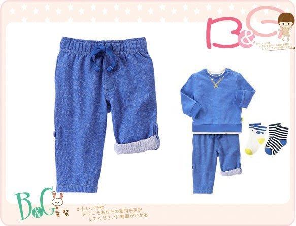 【B& G童裝】正品美國進口GYMBOREE Heathered Terry Rpll-Up可扣起藍色長短褲6-12m