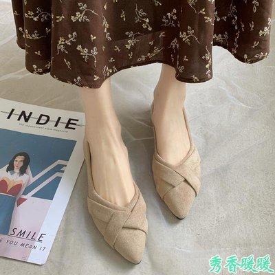 溫柔風單鞋女春新款韓版尖頭淺口一腳蹬平底豆豆鞋百搭晚晚鞋