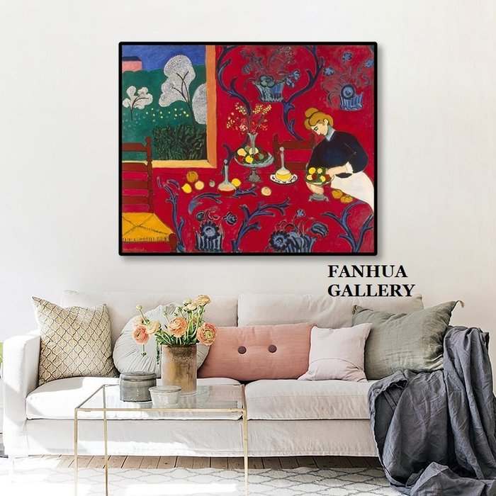 C - R - A - Z - Y - T - O - W - N Matisse亨利馬諦斯野獸派掛畫法國藝術家裝飾畫紅色餐桌紅色房間世界名畫辦公室客廳走道版畫