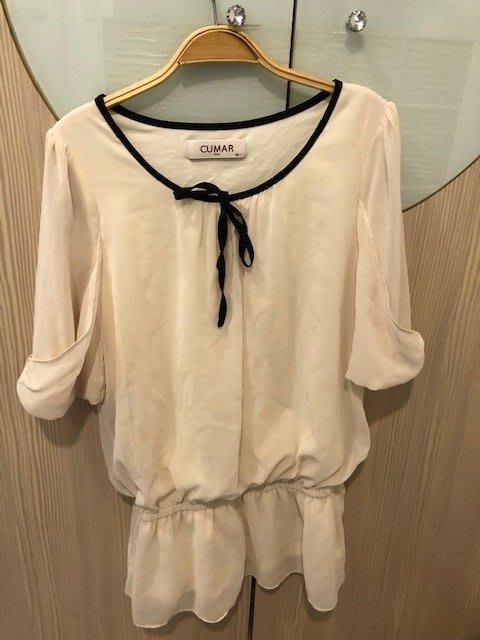 小花別針、【CUMAR】白色雪紡收腰連身裙