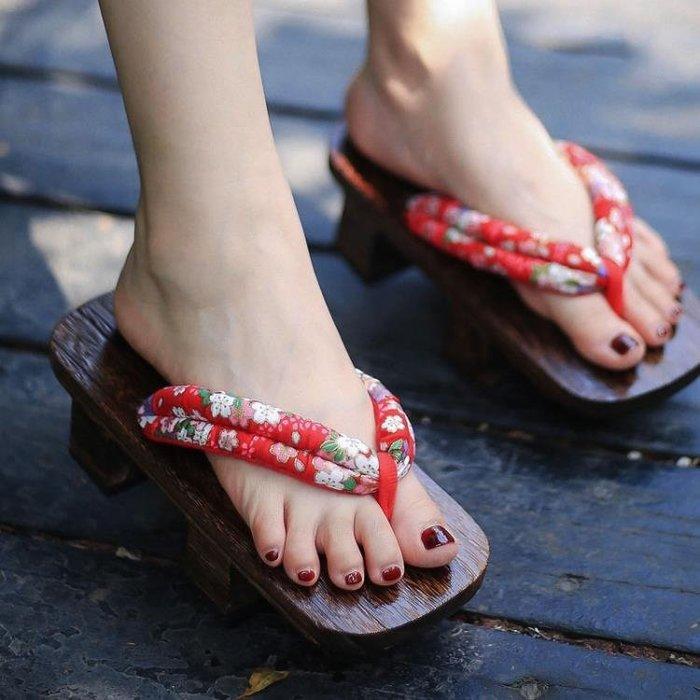 木屐 分女日本日式二齒人字拖厚底防滑拖鞋和風木拖鞋情侶cos