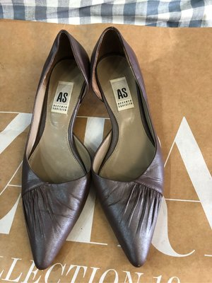 U003 百貨專櫃 AS 珠光香芋紫酒杯低跟包鞋上班通勤高雅大方實穿 goblet heel pumps