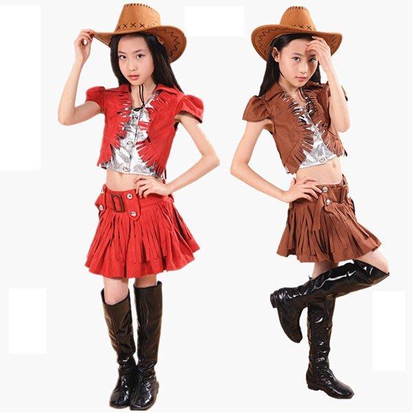5Cgo【鴿樓】會員有優惠 43011170949 兒童現代舞表演服裝西部牛仔女童爵士舞街舞演出服勁舞搖滾 兒童舞衣