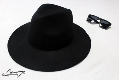 100%純羊毛黑色軟沿可調超寬沿紳士帽 Wide brim hat 歐美 復古 軟毛 荷葉邊 波浪 大帽簷 【LtLf】