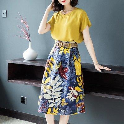 【Sweet 韓國連線】韓版得袖T恤上衣+花裙兩件套裝裙-S~2XL 8509【現貨+預購】