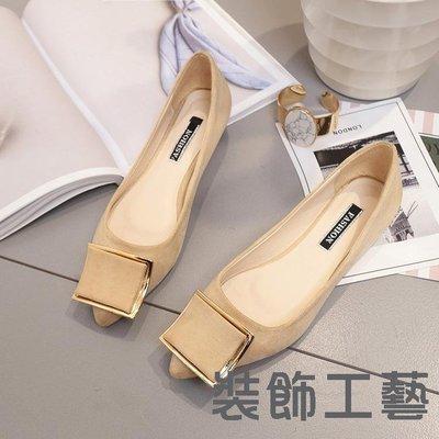 韓版新款尖頭女單鞋時尚方扣淺口平跟單鞋女百搭純色套腳女鞋